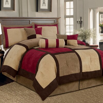 Barnsdale Patchwork 7 Piece Comforter Set Color: Brown/Burgundy, Size: California King