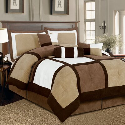 Barnsdale Patchwork 7 Piece Comforter Set Size: Queen, Color: Brown/White