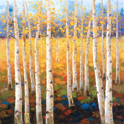 'Birch Forest' Painting Print on Wrapped Canvas