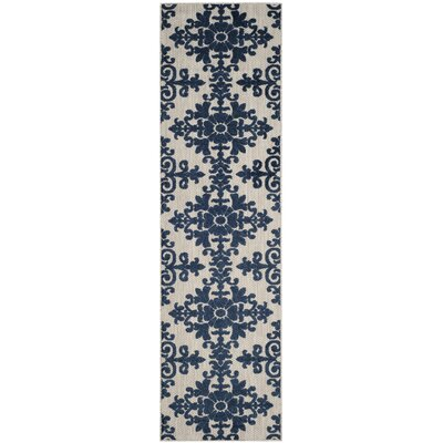 Clarence Cream/Royal Indoor/Outdoor Area Rug Rug Size: Runner 23 x 8