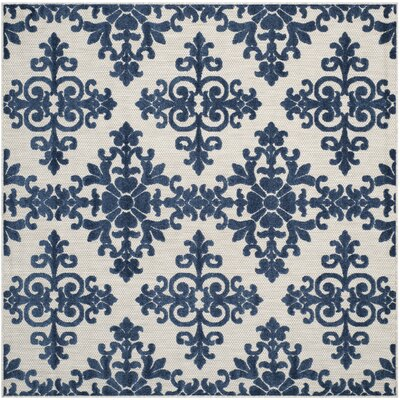 Clarence Ivory / Navy Indoor/Outdoor Area Rug Rug Size: Square 67