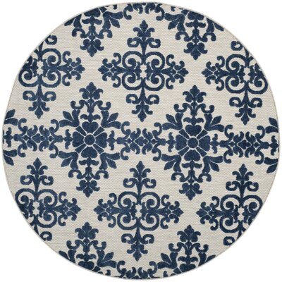 Clarence Cream/Royal Indoor/Outdoor Area Rug Rug Size: Round 67