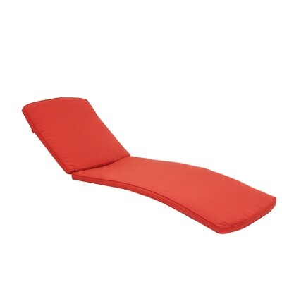 Outdoor Chaise Lounger Cushion Color: Red Orange