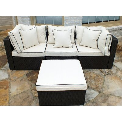 Burruss 4 Piece Sofa Set with Cushions Fabric: Cream / Brown