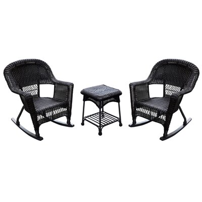 Bush 3 Piece Wicker Rocker Seating Group Finish: Black, Cushion Color: Blue