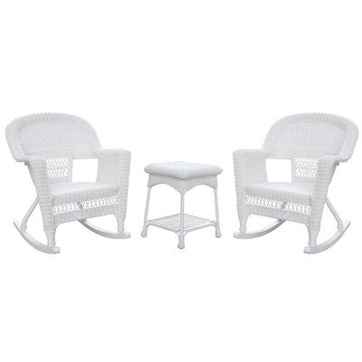 Bush 3 Piece Wicker Rocker Seating Group Finish: White, Cushion Color: No Cushion