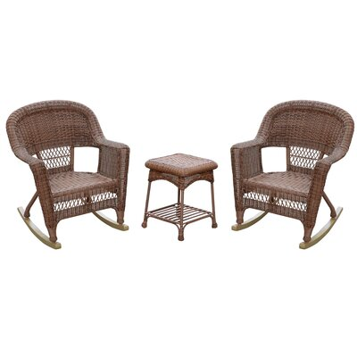 Bush 3 Piece Wicker Rocker Seating Group Finish: Honey, Cushion Color: No Cushion