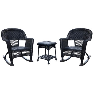 Bush 3 Piece Wicker Rocker Seating Group Finish: Black, Cushion Color: No Cushion