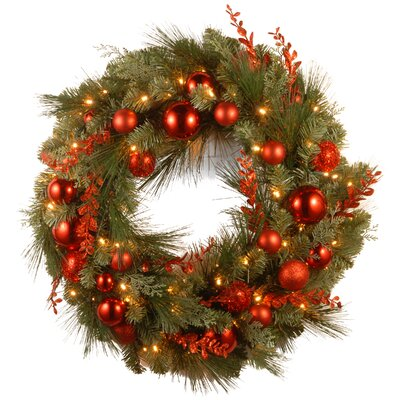 Pre-Lit Christmas Mixed Wreaths with Battery-Operated White LED Lights