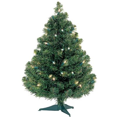 3' Green Artificial Christmas Tree with 50 Light Bulb Color: Clear