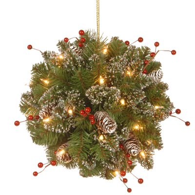 Spruce Kissing Ball with 35 Battery Operated LED Lights