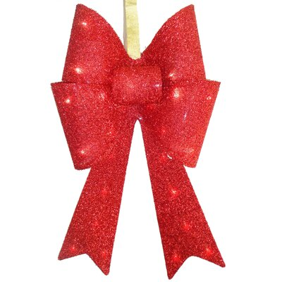 Tinsel Bow Christmas Decoration Color: Red