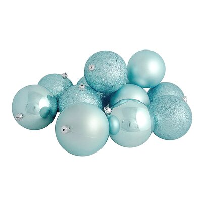 12 Piece Shatterproof Christmas Ball Ornament Set Color: Mermaid Blue