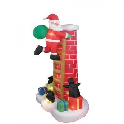 Christmas Inflatable Santa Claus Climbing Chimney Decoration