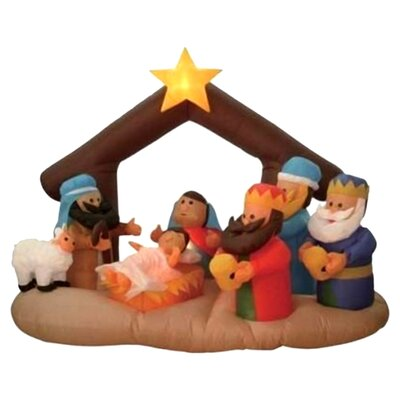 Christmas Inflatable Nativity Scene Under Stable Decoration