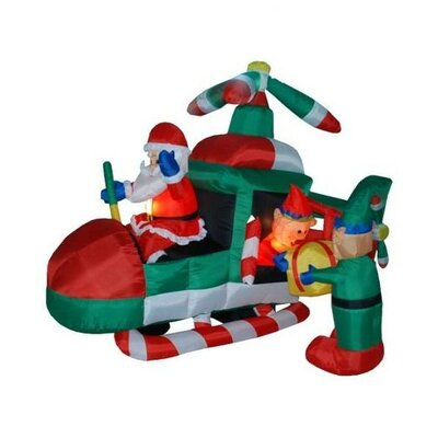 Christmas Inflatable Animated Santa Claus Driving Helicopter Decoration
