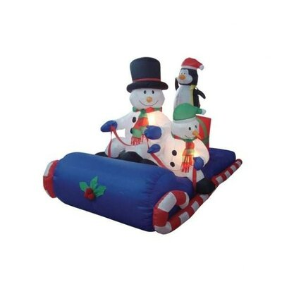 Christmas Inflatable Snowmen Sitting on Sled Decoration