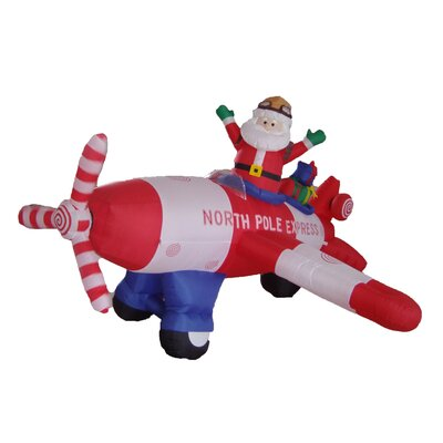 Christmas Inflatable Animated Santa Claus Driving Airplane Decoration