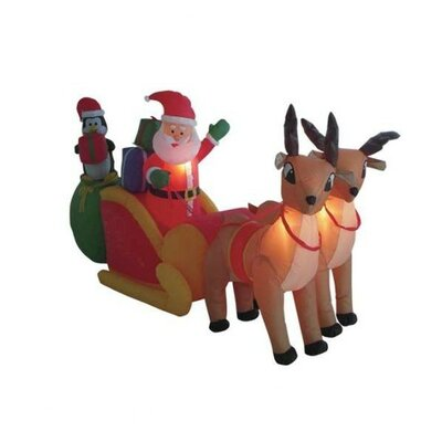 Christmas Inflatable Santa Claus Driving Sleigh Decoration