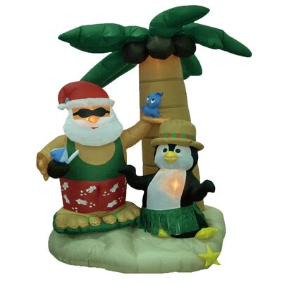 Christmas Inflatable Santa and Penguin with Palm Tree Decoration