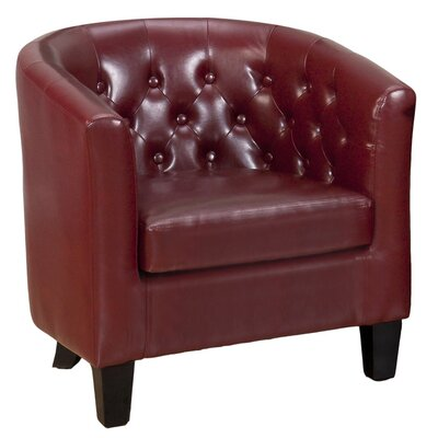 Barnabas Leather Barrel Chair Color: Red