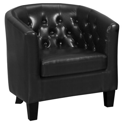 Barnabas Leather Barrel Chair Color: Chestnut