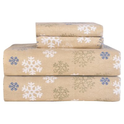 Barrett Heavy Weight Snowflake Printed Flannel Sheet Set Size: Twin XL, Color: Oatmeal