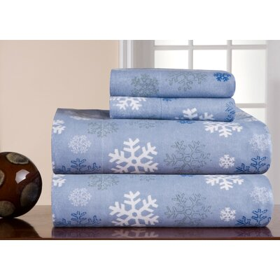 Barrett Heavy Weight Snowflake Printed Flannel Sheet Set Size: Queen, Color: Blue