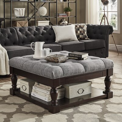 Back East Tufted Ottoman Upholstery: Gray, Base Finish: Espresso