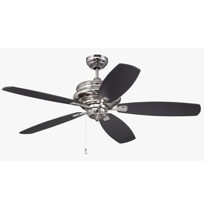 52 Bateson 5 Blade LED Ceiling Fan Finish: Polished Nickel with Walnut/Black Blades