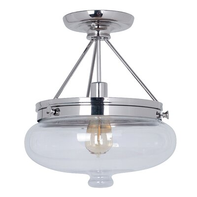 Bateson 1-Light Semi Flush Mount Finish: Polished Nickel
