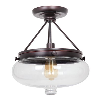 Bateson 1-Light Semi Flush Mount Finish: Oil Rubbed Gilded