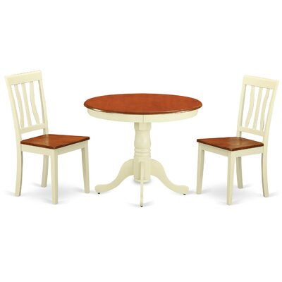 Appleridge Antique 3 Piece Dining Set Finish: Buttermilk White, Upholstery: Wood Seat