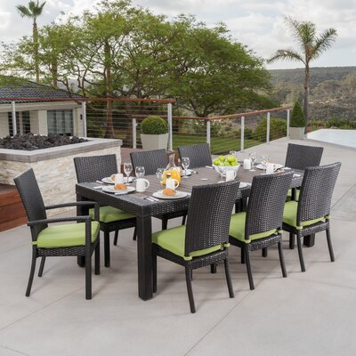 Evansville 9 Piece Outdoor Dining Set with Cushion Cushion Color: Gingko Green