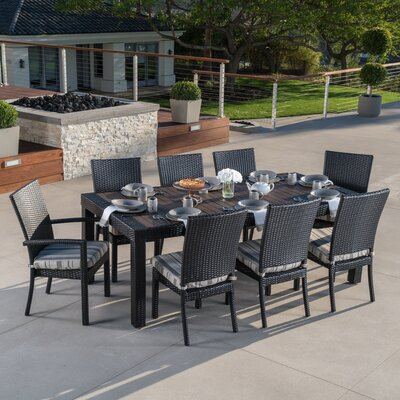 Evansville 9 Piece Outdoor Dining Set with Cushion Cushion Color: Wisteria Lavender