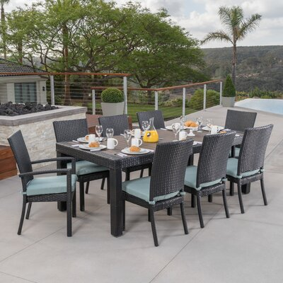 Evansville 9 Piece Outdoor Dining Set with Cushion Cushion Color: Spa Blue