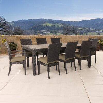 Evansville 9 Piece Outdoor Dining Set with Cushion Cushion Color: Delano Beige