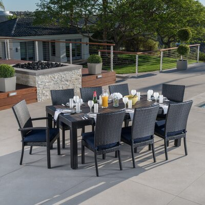 Evansville 9 Piece Outdoor Dining Set with Cushion Cushion Color: Navy