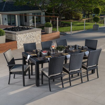 Evansville 9 Piece Outdoor Dining Set with Cushion Cushion Color: Slate Grey