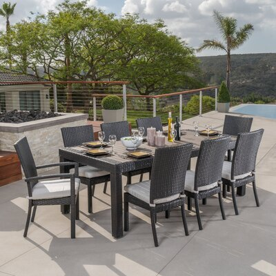 Evansville 9 Piece Outdoor Dining Set with Cushion Cushion Color: Moroccan Cream
