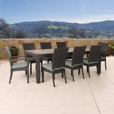 Evansville 9 Piece Outdoor Dining Set with Cushion Cushion Color: Bliss Blue