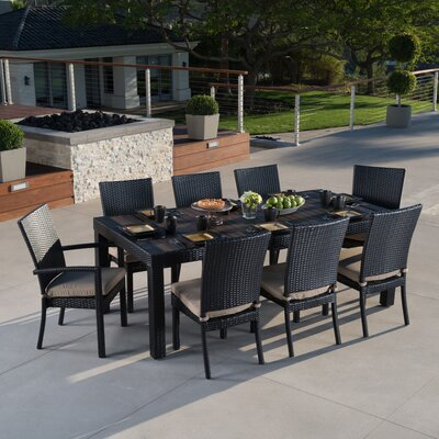 Evansville 9 Piece Outdoor Dining Set with Cushion Cushion Color: Maxim Beige