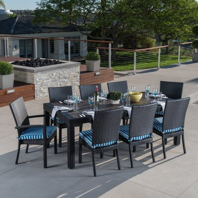 Evansville 9 Piece Outdoor Dining Set with Cushion Cushion Color: Blue Stripe