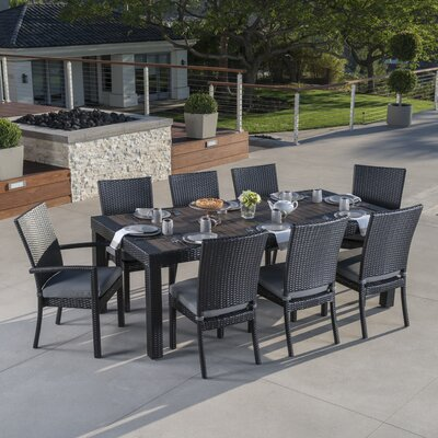 Evansville 9 Piece Outdoor Dining Set with Cushion Cushion Color: Charcoal Grey