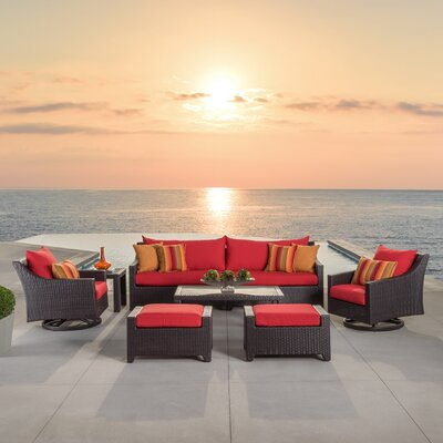 Northridge 8 Piece Deep Seating Group Fabric: Sunset Red
