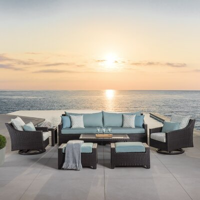 Northridge 8 Piece Deep Seating Group Fabric: Spa Blue