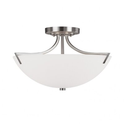 Brickyard 3-Light Semi Flush Mount Finish: Brushed Nickel