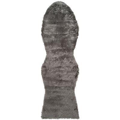 Isacc Faux Sheepskin Grey Area Rug Rug Size: Runner 26 x 6
