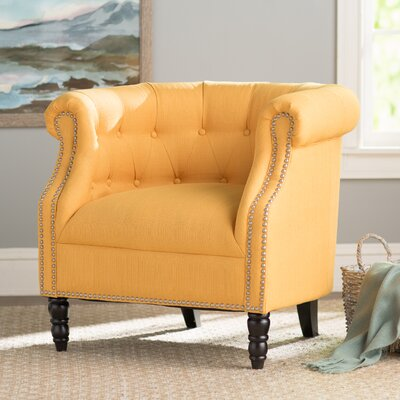 Huntingdon Barrel Chair Upholstery: Mustard Yellow