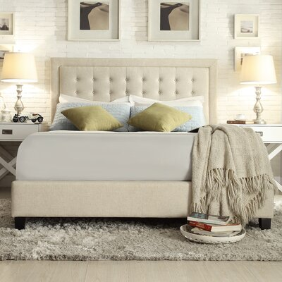 Hugh Low Profile Platform Bed Upholstery: Beige, Size: King